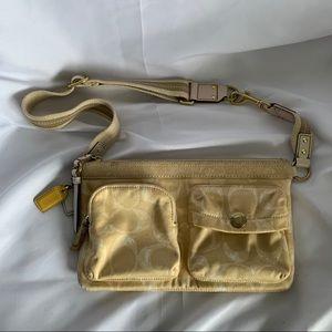 COACH Yellow & White Fabric Waist Bag